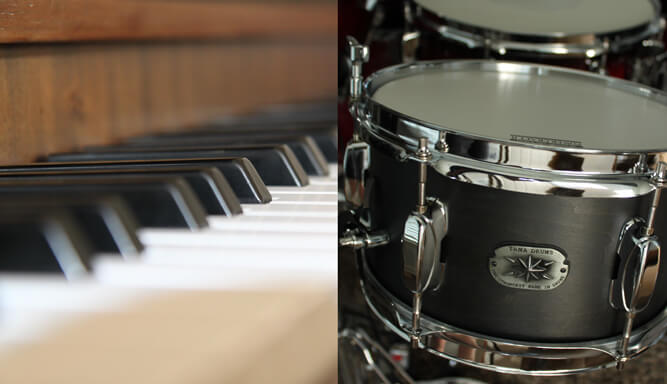Piano keys and a drum kit upclose